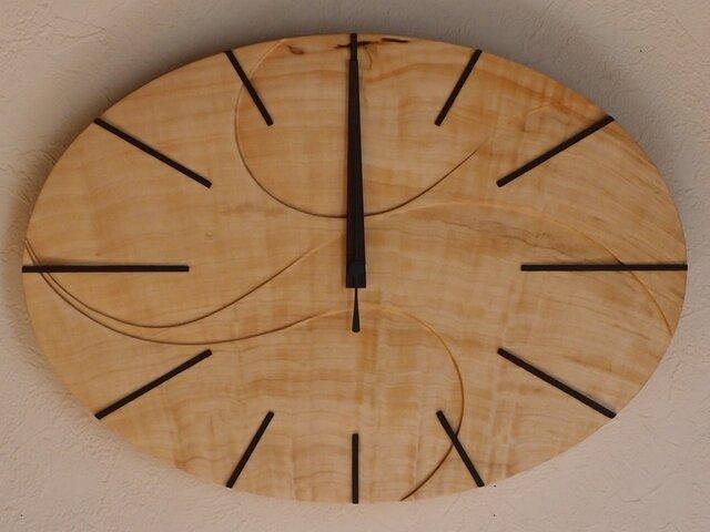 無垢の木の電波掛け時計 とち 0032の画像1枚目