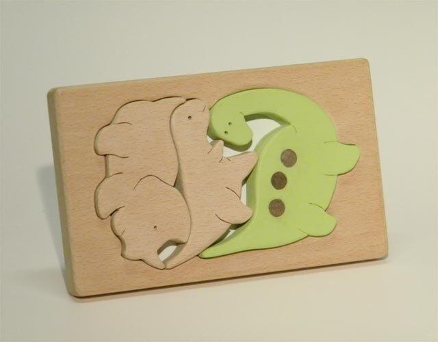 木のパズル 三頭の恐竜の画像1枚目