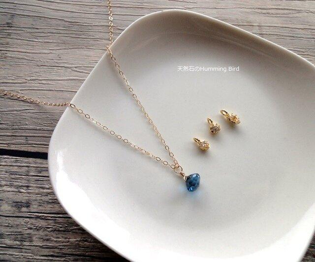 【受注生産】天然石のネックレス■ロンドンブルートパーズ オニオンカット×選べるチャーム 3種類の画像1枚目