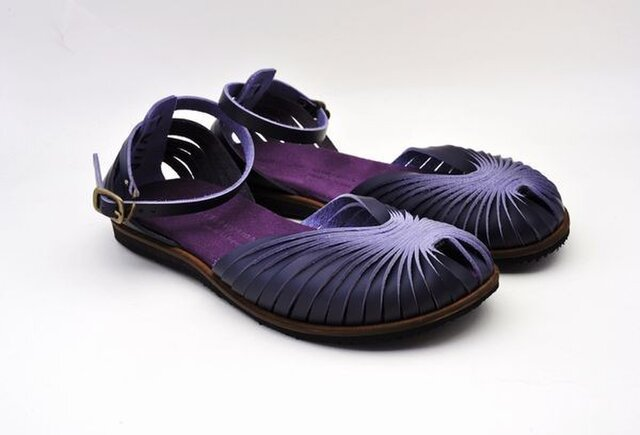 Tokuyama Shoes『ballet sandals』purple leatherの画像1枚目