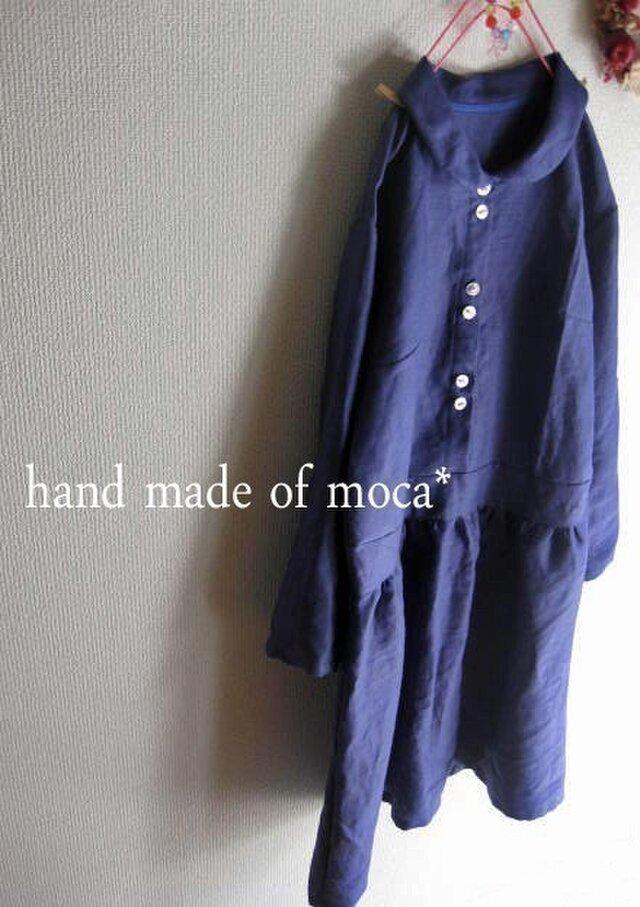 《完売》W42/小さいサイズ/リネン長袖プチ襟ワンピース★桔梗の画像1枚目