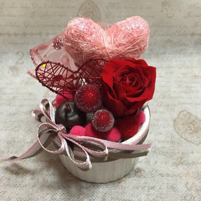 ピンクのハートのバレンタイン・アレンジ Sの画像1枚目
