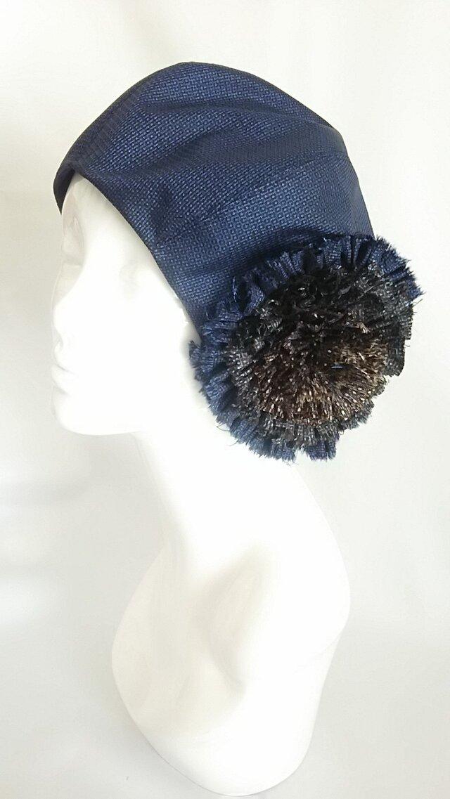 藍大島紬(100亀甲柄)ベレー帽の画像1枚目