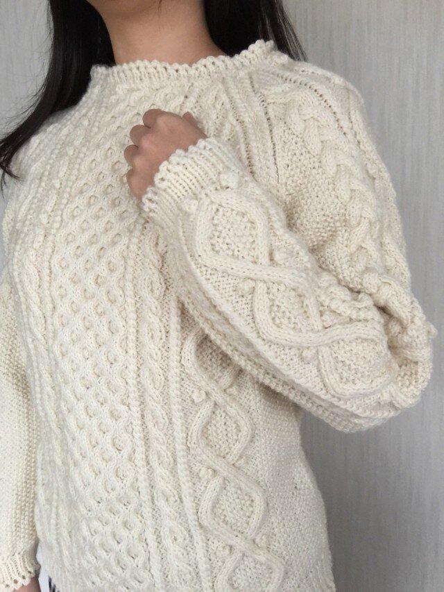 アラン模様のハイジのユキちゃんのようなセーター(再販)の画像1枚目