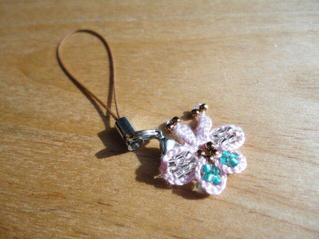 トルコボンジュックオヤ風 蝶ストラップ(ピンク色)の画像1枚目