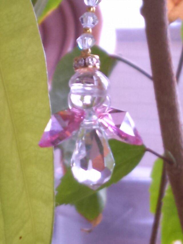 ミニエンジェルストラップピンク水晶の画像1枚目