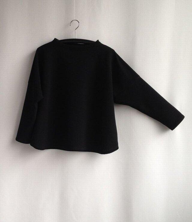 「再販・2」 ゆったりTブラウス・『うね織り綿ニット・黒』NO.1の画像1枚目