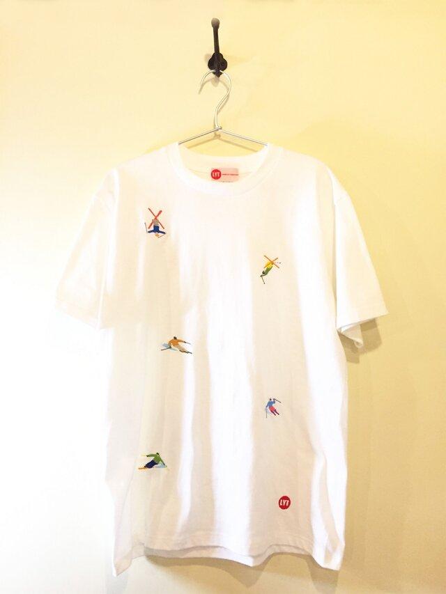 SKI  刺繍 クルーネック Tシャツの画像1枚目