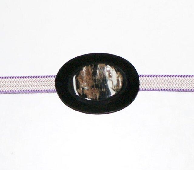 【再販】天然素材の一品★「水牛のエアーズロック(ウルル)帯留」蝋色の画像1枚目