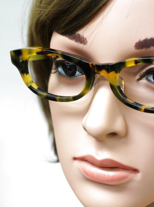 【男女兼用サイズ】丈夫に作った骨太セルロイド眼鏡001-バラYの画像1枚目