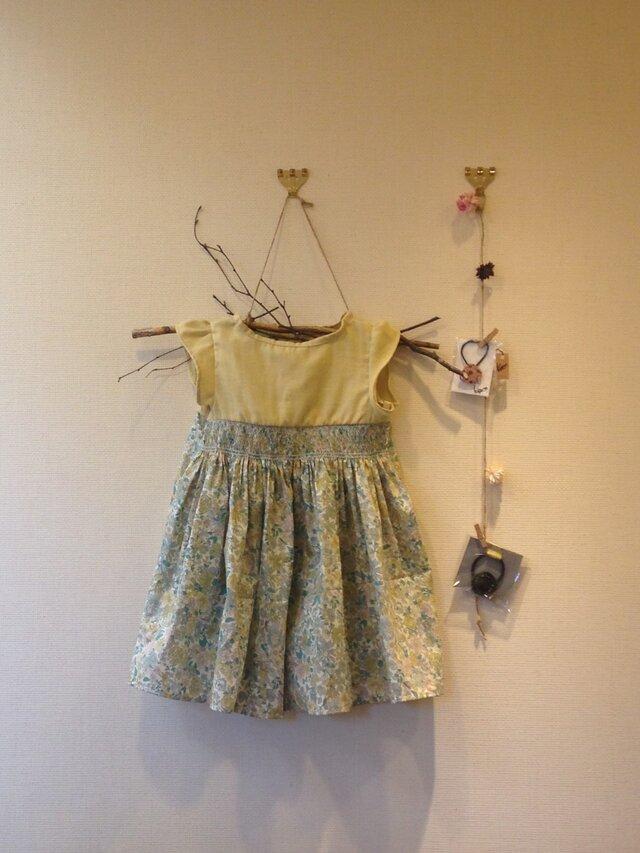 80cmミモザの服 リバティスモッキングワンピースの画像1枚目