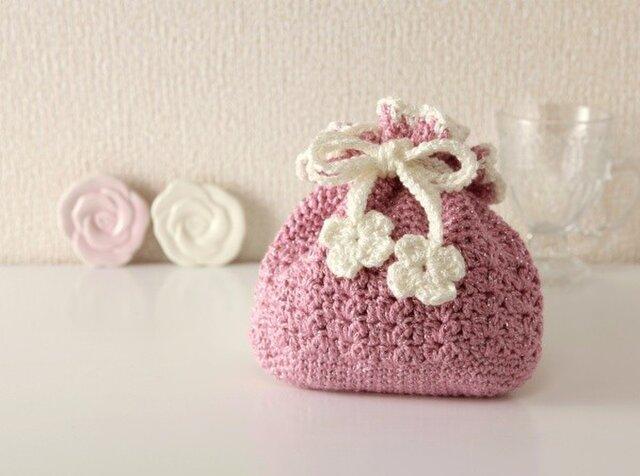 62.かぎ針編み 小物入れ巾着(ピンク×白)の画像1枚目