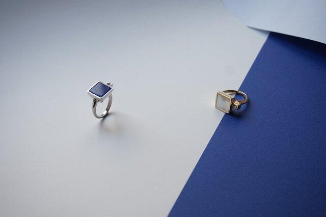 Lapis Lazuli Pt Square Ringの画像1枚目