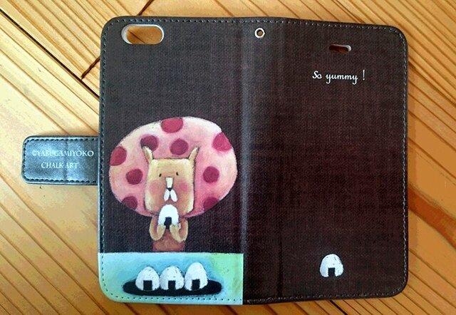 チョークアートのおにぎりライオン iPhone手帳型ケース iPhone6/6Sケースの画像1枚目
