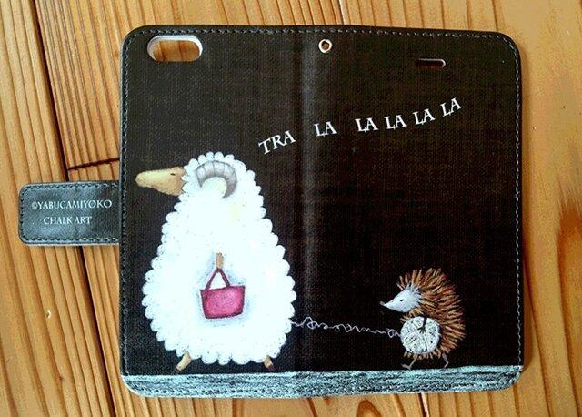 チョークアート 羊とハリネズミ iPhone手帳型ケース iPhone6/6Sケースの画像1枚目