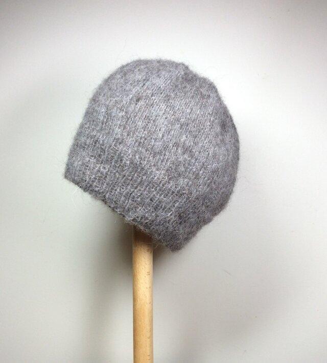 モヘア ニット帽 ・グレーの画像1枚目