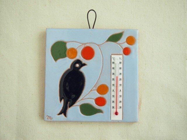 タイル温度計(鳥)水色の画像1枚目