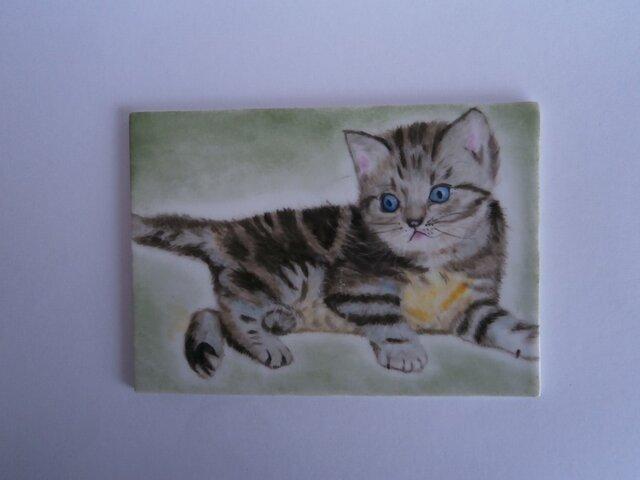 猫の陶板2の画像1枚目