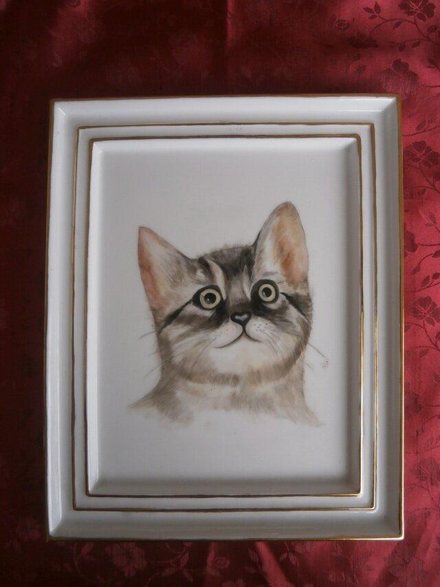 猫の陶額の画像1枚目
