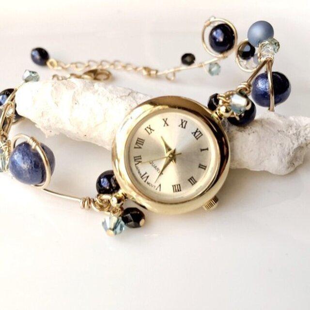 ≪再販≫ワイヤーアート 腕時計(ブルー系)の画像1枚目