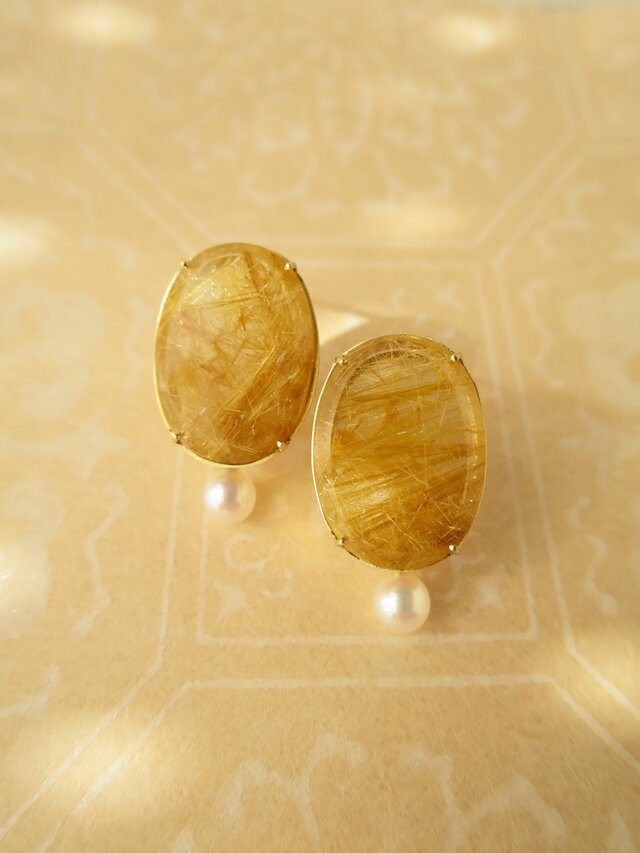 K18   rutile quartz・Pearl Pierceの画像1枚目