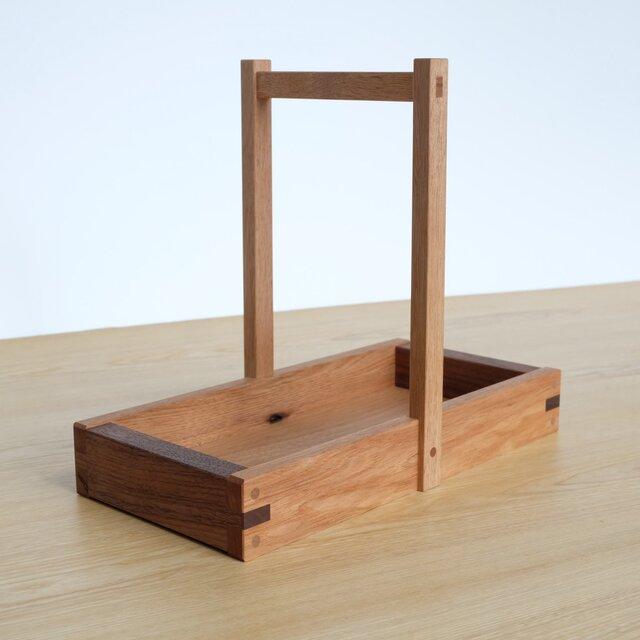 岡持型整理箱(クルミ+ウォールナット)の画像1枚目