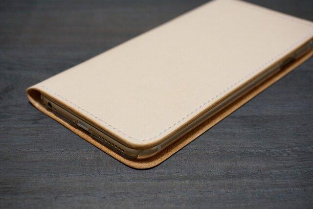 牛革 iPhone6Plus/6sPlusカバー  ヌメ革 レザーケース  手帳型  ナチュラルカラーの画像1枚目