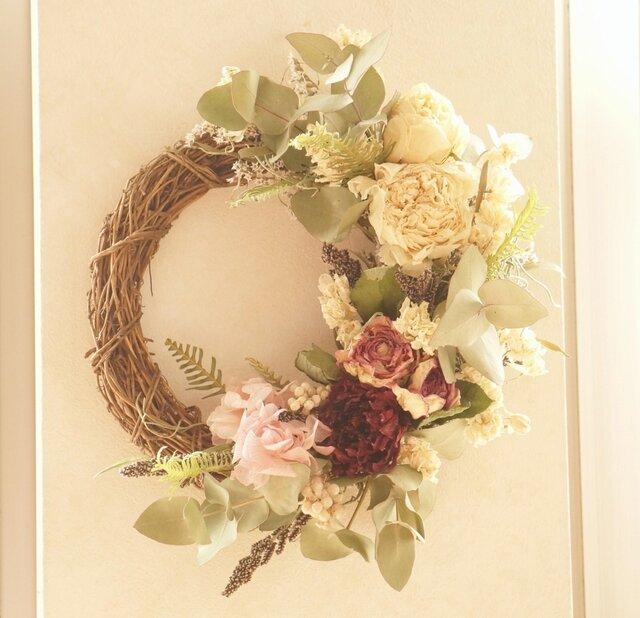 芍薬のspring wreathの画像1枚目