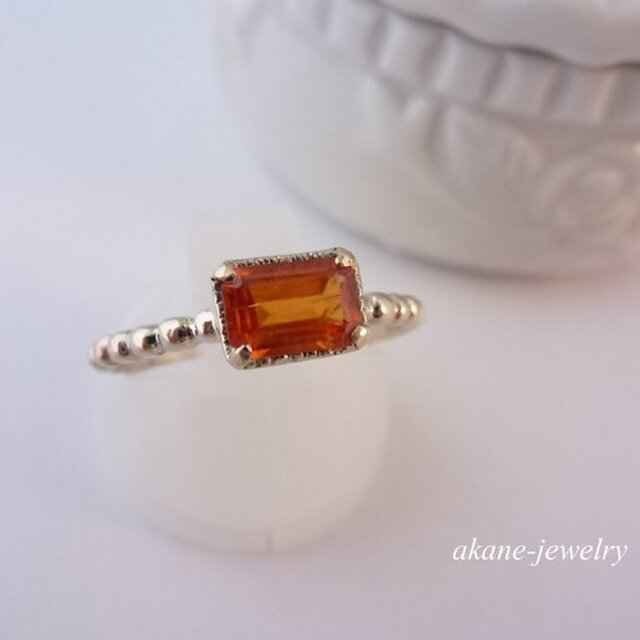 R様ご予約品 オレンジのガーネットの指輪の画像1枚目