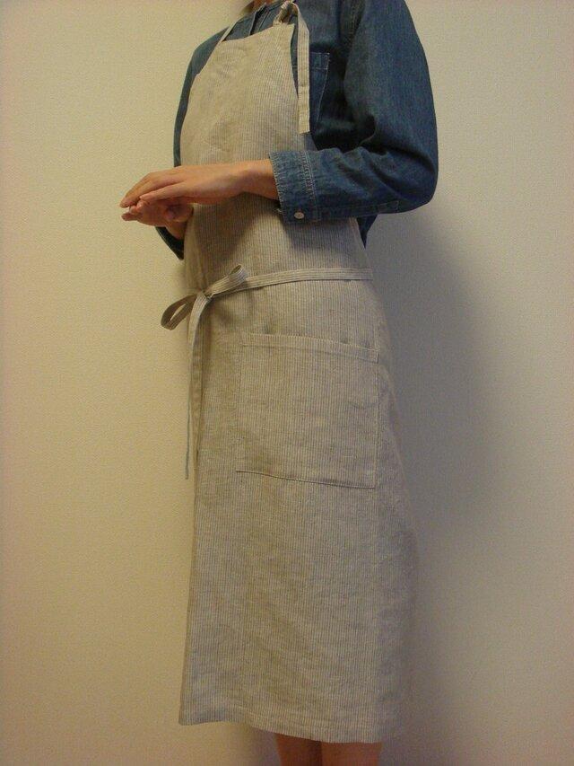 ☆リネン:丈85cm モカベージュストライプのエプロン☆の画像1枚目
