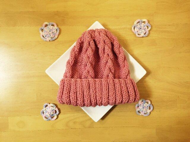 春色ニット帽 ピンク 男女兼用の画像1枚目