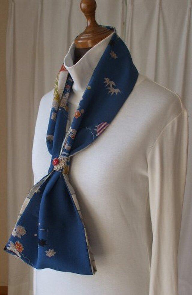 古布でストールとスヌード使い 絹の画像1枚目