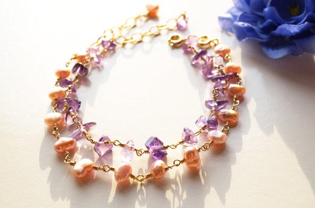 アメジスト&淡水パールブレス Amethyst&Pearl 2way bracelet B0021の画像1枚目