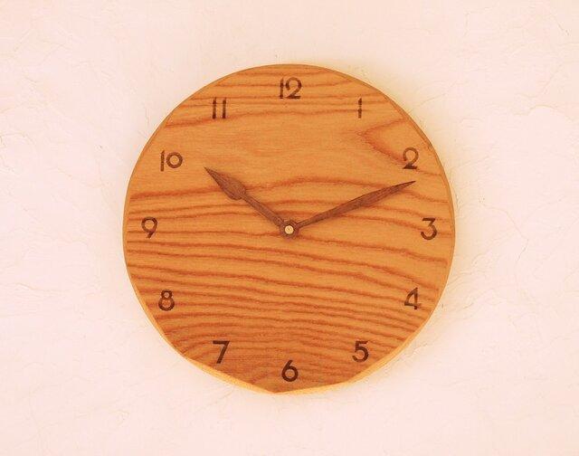 掛け時計 丸 けやき材31の画像1枚目