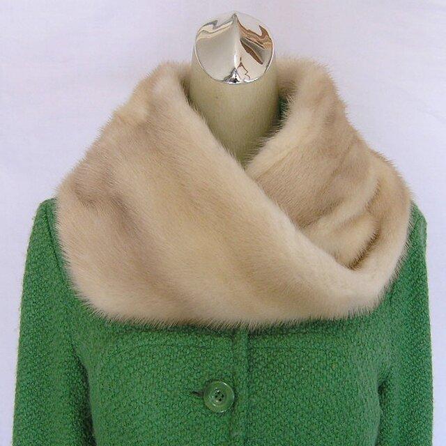 ¶ new antique fur ¶ ゴールデンパールミンクnejiriスヌード「icon」 ラスト1点!の画像1枚目