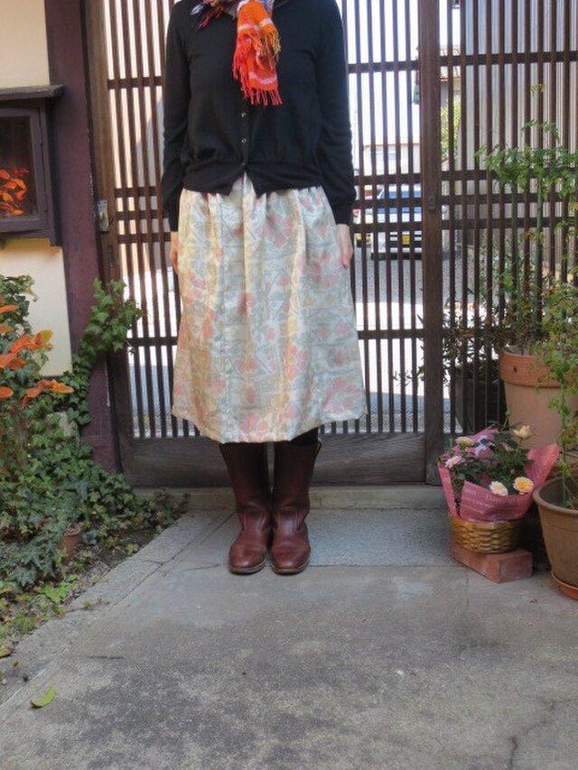 着物リメイク☆優しさあふれる春スカート♪ブーツに合う71㎝丈での画像1枚目