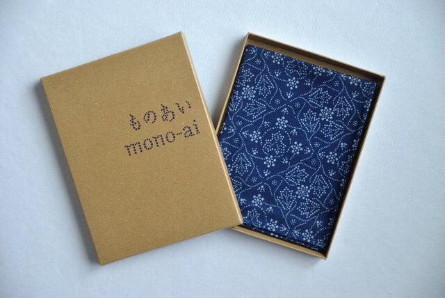 藍染×型染ハンカチ(唐草牡丹)の画像1枚目
