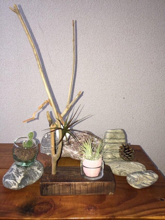 流木を使った小物置きグラスセット (ショップの商品1万円以上お買い上げで折り鶴サービス中)の画像1枚目