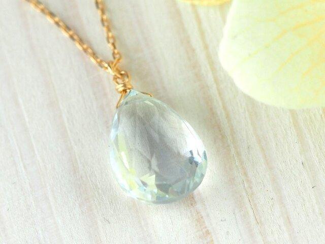 K18 澄んだ水のように美しいアクアマリン一粒ネックレスの画像1枚目