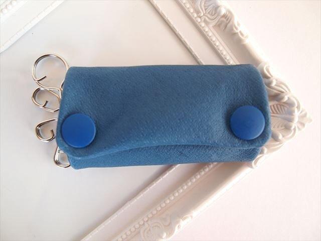 【フルブルー】ぶた革やわらかキーケース【受注生産】青色レザー 1611003の画像1枚目