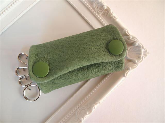 【フルグリーン】ぶた革やわらかキーケース【受注生産】緑色レザー 1611004の画像1枚目