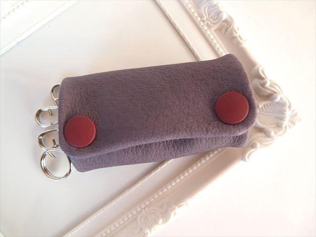 【フルパープル】ぶた革やわらかキーケース【受注生産】紫色レザー 1611005の画像1枚目