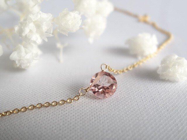 【K14gf】宝石質ピンクトパーズの一粒ネックレス の画像1枚目