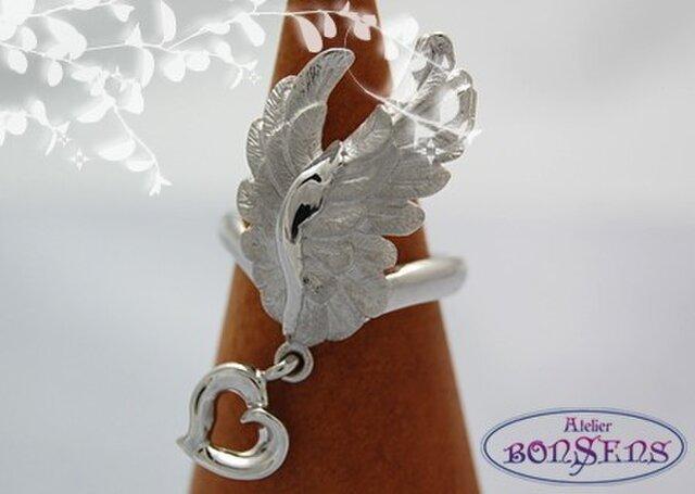 Silver 925 天使の翼 リング ハート付 サイズ#7~#18の画像1枚目