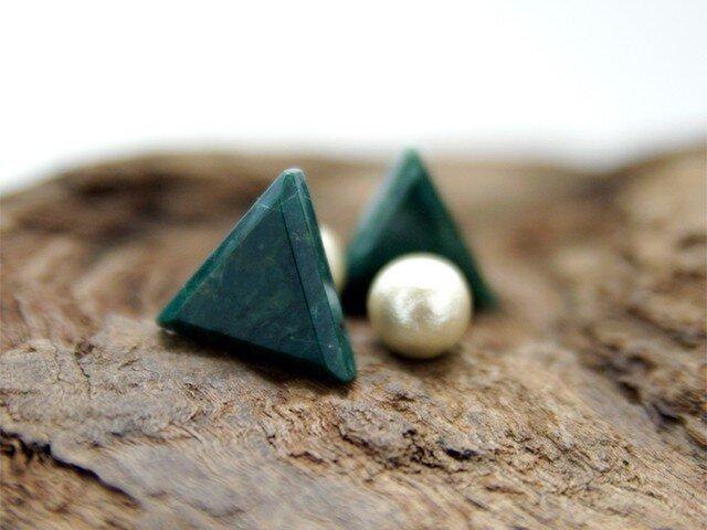 Trigon セラドナイトのさんかくピアス コットンパールキャッチ <p96-per>の画像1枚目