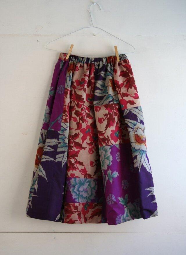 銘仙など 乙女色パッチワークギャザースカート Fサイズの画像1枚目