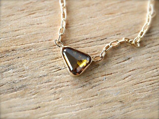 Cognac Brown Free Form Diamond Necklaceの画像1枚目