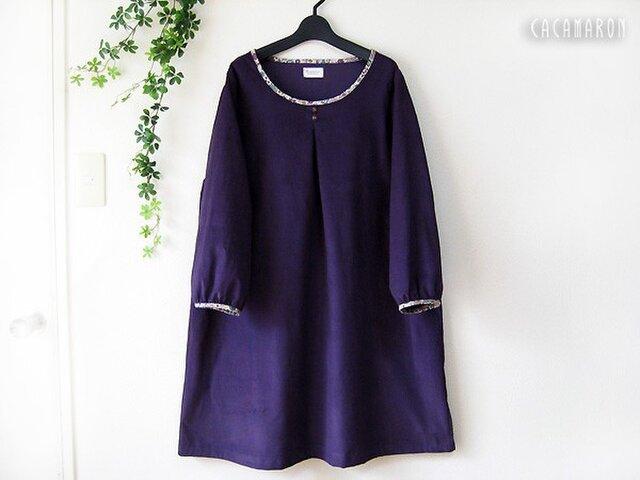 L タックブワンピース 九分袖 コーデュロイ YUWA 紫の画像1枚目