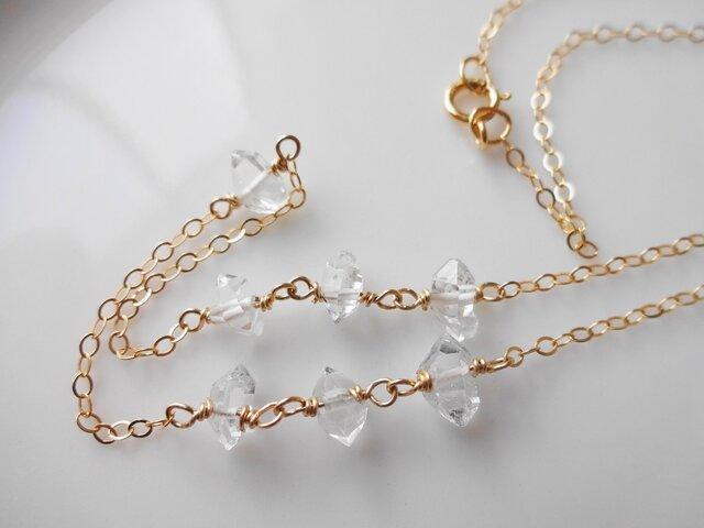 sale 14kgf ハーキマーダイヤモンド7石ネックレスの画像1枚目
