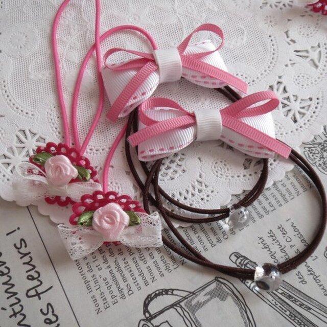 ピンクバラとレースリボンのゴムと白ステッチのりぼんゴム 2組の画像1枚目